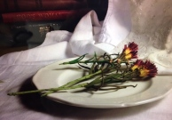 Flowers On White Plate